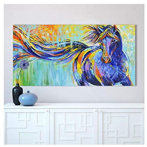 zhaoyangeng Bunte Laufende Plakate Und Drucke Malerei Wandkunst Leinwand Tiermalerei Pferd Bild Wohnkultur Für Wohnzimmer- 50X90Cm Ohne Rahmen