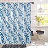 HOMECROWN Printed Leaf Design Waterproof Shower Curtain for Bathroom, 7 Feet PVC Curtain with 8...