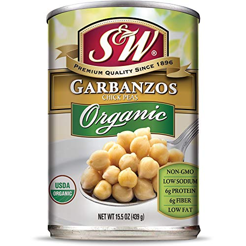 S & W • Canned Organic Garbanzo Beans (12 Pack), Chickpeas, Vegan, Non-GMO, Natural Gluten-Free Bean, Sourced and Packaged in the USA, 15 Ounce Can