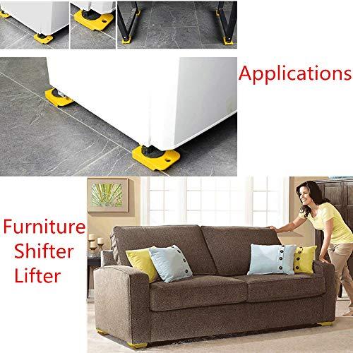 51vqLrRSbKL - WeFoonLo 1 juego de muebles elevador Herramienta de elevación y movimiento de muebles para electrodomésticos pesados, 1 barra de elevación y 4 rodillos móviles para muebles (Amarillo)