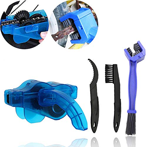 HKBTCH Fahrrad Kettenreinigungsgerät Kit, Fahrradkettenreiniger Reinigung Scrubber, Pinsel-Werkzeug im Set für Fahrradketten, Schnelles Sauberes Werkzeug für alle Arten von Fahrrädern, Blau
