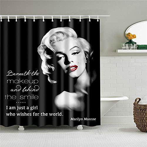ACTMSY Duschvorhang 180x180cm Marilyn Monroe Badezimmer Textil Vorhang Wasserdicht Antischimmel Polyester Waschbar Badezimmer Badvorhang Mit 12 Haken Und Gewichtetem Saum