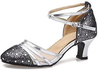 T.T-Q Chaussures de danse pour femmes Satin Heel D/ébutant Professionnel Blanc Latin Sandales Salsa Jazz Tango Swing Pratique Indoor Performance