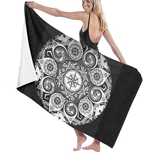 W-wishes Mandala Compass Mikrofaser Strandtücher Schnelltrocknen Super Absorbent Bathing Spa Pool Handtücher zum Schwimmen & Outdoor