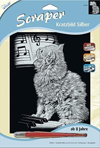 MAMMUT 136002 - Kratzbild, Motiv Katze am Piano, silber, glänzend, Komplettset mit Kratzmesser und Übungsblatt, Scraper, Scratch, Kritzel, Kratzset für Kinder ab 8 Jahre