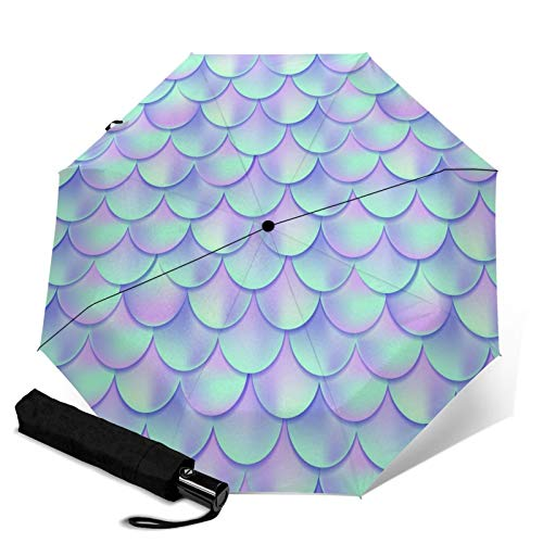 Automatic Umbrella Mermaid Skin Fish Scales Umbrella Screen Protect Thick Sun Umbrella Strong Stable Wind-Proof Rain Umbrellas Tiny Lightweight Folding Umbrellas for Women Men Outdoor
