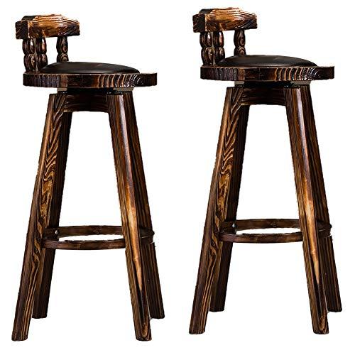 qddan Set di 2 sgabelli Bar Set con Schienale poggiapiedi e Base for la Prima Colazione Bancone da Cucina e casa Sgabelli Sgabelli da Pranzo per la Colazione (Colore : Nero)