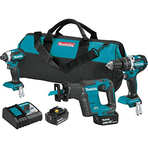 MAKITA XT337T 18V LXT 18-Volt Lithium-Ion Brushless Cordless 3-Pc Tool Combo Kit (Renewed)