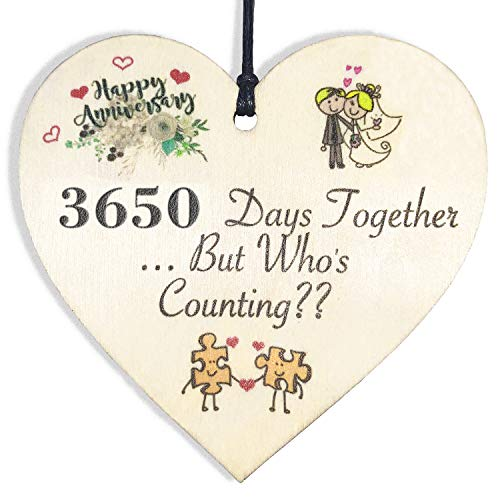 HONZEE 10th Wedding Handmade Wooden Plaque 10 Years for Wife Husband Him Wedding Anniversary Card Hanging Heart to Celebrate 10th Wedding