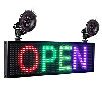 Leadleds P5 RGB Full Color LED Sign Message Board WiFi Connected Smartphone Programmable 12V Car Cigarette Lighter 2pcs Suction Cups Car Window Storefront