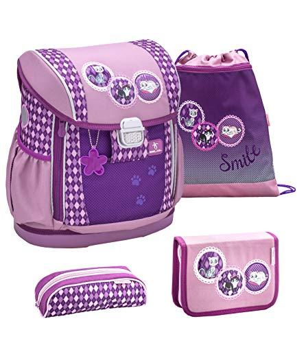 Belmil Ergonomischer Schulranzen Set 4 - teilig Größen verstellbar Mädchen 1. 2. 3. 4. klasse - gepolsterter Hüftgurt und Brustgurt/Pferde, Horse/Lila, Purple (404-20 Pussycat)