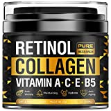 Collagen & Retinol Cream - Anti Aging Cream for Face w/ Hyaluronic Acid - Anti Wrinkle Day & Night Retinol Moisturizer - Made in USA - 1.7 oz