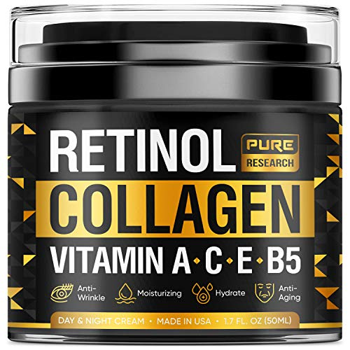 Collagen & Retinol Cream - Anti Aging Cream for Face w/ Hyaluronic Acid - Anti Wrinkle Day & Night Retinol Moisturizer - Made in USA - 1.7 oz