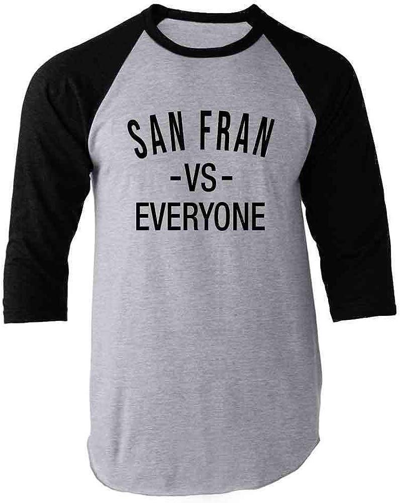 San Francisco vs Everyone San Fran Sports Fan Black 2XL Raglan Baseball Tee Shirt