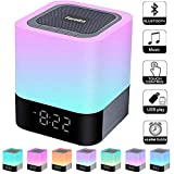 Foreita Night Light Bluetooth Speaker, Touch Control Bedside Lamp, Dimmable Warm Light Lamp