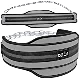 """DEFY Premium Double Padded Neoprene Dip Belt with 32"""" Heavy Duty Steel Chain for Power Lifting, Bodybuilding, Strength & Training-Double Stitched (Grey)"""