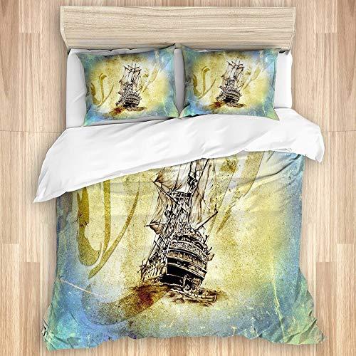 ELIENONO Edredón nórdico de,Invierno,Dibujo de Motivo de Barco Antiguo Hecho a Mano,de Microfibra,1*Cama 220 x 240cm - 2 *Almohada 50 x 80cm