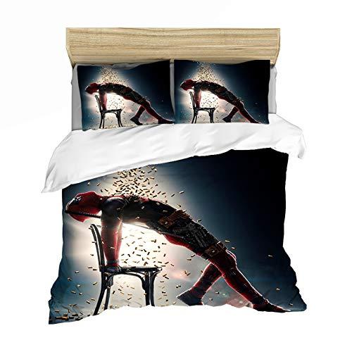 LALAGOU Deadpool Bettwäsche, Bettbezug und Kissenbezug, komfortabel und atmungsaktiv, für Kinder und Erwachsene (A,135 x 200 cm)