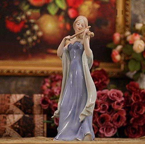 DDGD Sculpture Elegant Porcelain Violin Playing Lady Figurine Ceramic Music Belle Statuette Decor Gift Craft Ornament Accessories Furnishing