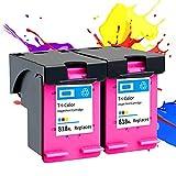 Reemplazo remanufacturado de Cartucho de Tinta 818xl para HP Envy 100/110/121/114/120/121, DeskJet D1620 - D5568, F2400 - F4583, Photo Smart C4600 - C4798 Color+Color