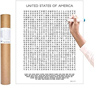 Inkwell Goods US Travel Checklist Coloring Word Search Poster + Activity Print | Home Decor Wall Art. Gift for Adventure Traveler | Used for Educational + Learning | Made in USA 16 x 20 inches