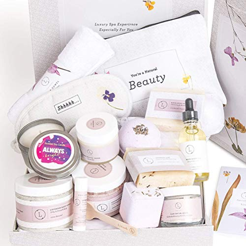 Spa Gift Box, Relaxing Gift for Her, Basket Including 15 pc - Shea butter, Scrub, Bath salts, Body oil, Bath Bombs, Soaps, Lip balm, Eye Mask, Bag, Mask, Luffa, Face Towel, Gift for Women by Lizush