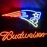 ネオンサイン、『NFL New England Patriots Budweiser 』NEON SIGN 、ディスプレイ サインボード、ギフト、 省エネ、バー、カフェ、喫茶店、広告用看板、クラブ及び娯楽場所等 インテリア 16 *14インチ ME054