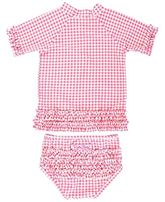 RuffleButts Baby/Toddler Girls Rose Gingham Ruffled Rash Guard Bikini - 18-24m
