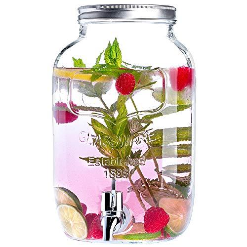 KADAX Getränkespender aus Glas, 4L, Wasserspender mit Zapfhahn und Deckel, Saftspender, Limonadenspender, Glaskanne, Zapfhahnflasche, Trinkspender für kalte Getränke, Dispenser