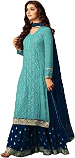 Generic Women's Georgette Fabric Heavy Embroidered Sharara Suit (LNF154,Sky Blue,4XL)