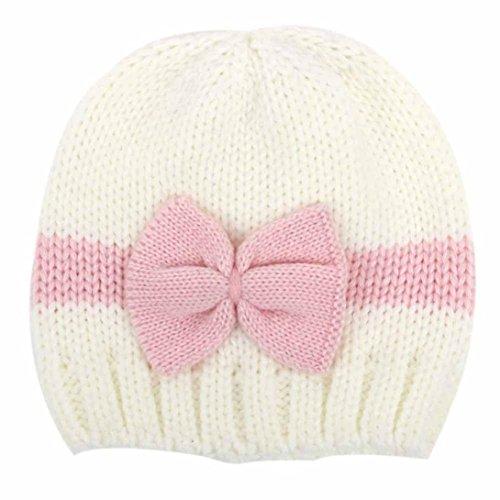 RETUROM Sombreros de bebé, Forme a bebé recién nacido el casquillo hecho punto suave del sombrero del ganchillo de las lanas (Blanco)