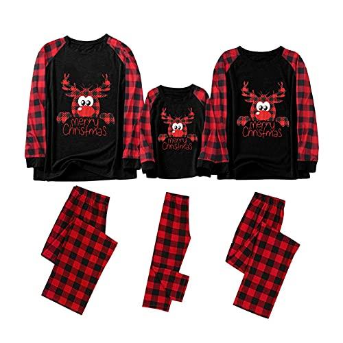 Beudylihy Weihnachten Familie Schlafanzug Outfit Nachtwäsche Herren Damen Kiner Lang Pyjamas Set mit Weihnachtsmotiv Fun-Nachtwäsche Christmas Hausanzug