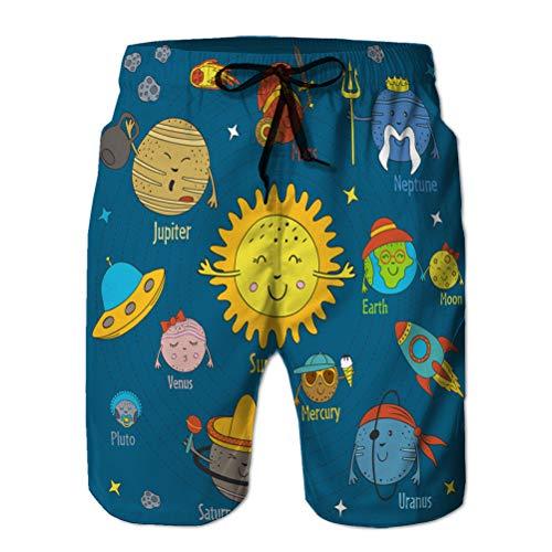 90 Shorts de Playa de Secado rápido para Hombres Surfing Swim with Pockets Cartoon Funny Solar syste XXL