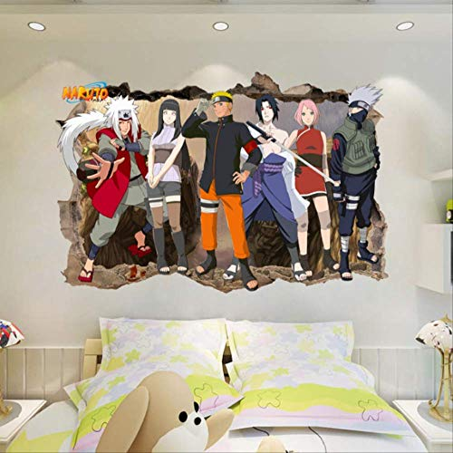 Etiqueta De La Pared, Regalo De Diy Para Niños Naruto Amine Breakthrough 3D Niños Dormitorio Pegatinas De Pared Decoración Vinilo Decal Poster Mural Extraíble, 60X90Cm
