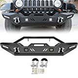 ECCPP Front Bumper Fit for 2007-2018 for Jeep Wrangler JK (with D-ring & LED Lights & Winch Plate ) Texture Black