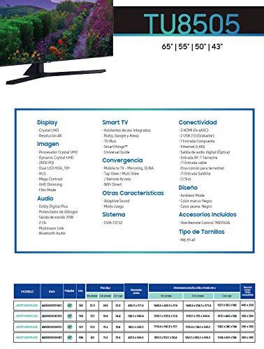 Samsung Crystal UHD 2020 43TU8505 Serie 8500 - Smart TV de 43