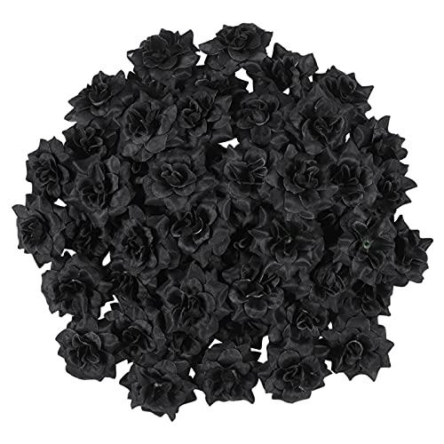 XIALIMY Flores Artificiales 50 unids Simulación Seda Rosa Flor Cabezas para Hat Ropa Álbum Embellecimiento (Negro) (Color : Black, Size : L)