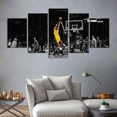Living Room Schilderijen Klassieke NBA Ster Kobe Vijfdelige Schilderijen, Home Art Decoratie, Canvas Randloze Schilderkern, Geschikt voor Slaapbank Muur 30*40*230*60*230*80*1
