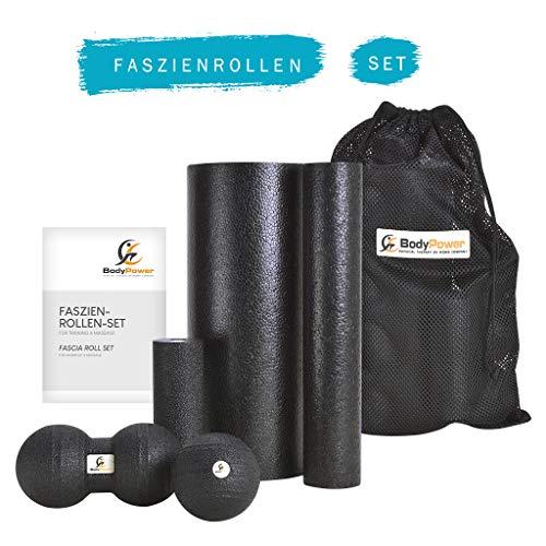 WOMA BodyPower Faszienrolle Set - 3 x Faszienrolle Klein und Groß, 1x Faszienball, 1x Duo Ball - Massage Set für Mehr Entspannung und Weniger Schmerzen, Schwarz