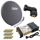 PremiumX Satelliten-Komplettanlage Fuba DAA 850 A Satellitenschüssel Alu Anthrazit 5/8 Multischalter Quattro LNB 24x F-Stecker, 1 SAT 8 Teilnehmer