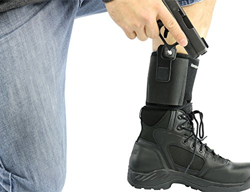 "ComfortTac Ultimate Ankle Holster for Concealed Carry Fits Glock 42, 43, 36, 26, Smith and Wesson Bodyguard .380.38, Ruger LCP, LC9, Sig Sauer, and Similar Guns (15"" Band Fits Up to 13"" Leg)"
