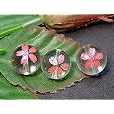 55651 わけあり 1粒売り 12mm 桜彫り ピンク箔 水晶 クリスタル クォーツ ブラジル産 天然石 パワーストーン