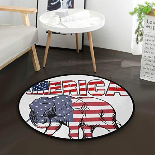 DEZIRO Alfombra redonda con diseño de elefante, bandera americana, antideslizante, para el hogar u oficina
