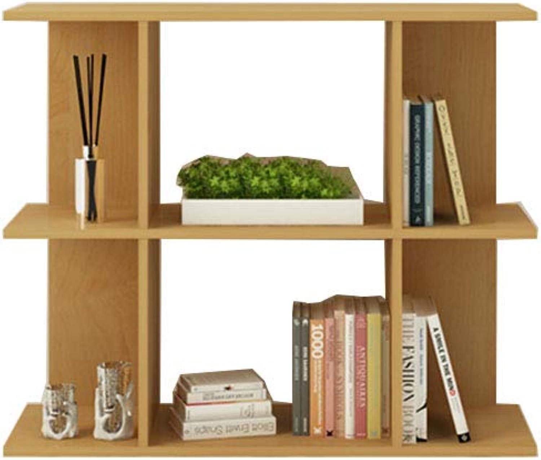CL Creative Wooden Floor-Standing Bookcase Storage Rack - 2 colors (3 Bookshelf (color   Wood color, Size   730 mm high)