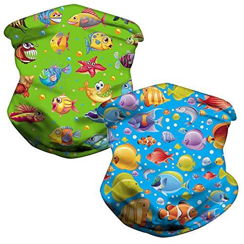 LOZACHE 2pcs Child Neck Gaiters Balaclava Bandanas Face Cover, Fish Design Summer Neck Gaiter Multi Handbands (Fish 01)