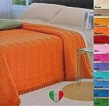 Copriletto Estivo Tessuto Jaquard Ciniglia 100% Cotone 12 Colori Prodotto Italia (Azzurro 10, Matrimoniale 260x270)