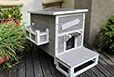 HiCaptain Outdoor Cat House Stray Cat Shelter with Escape Door Kitty House Weatherproof