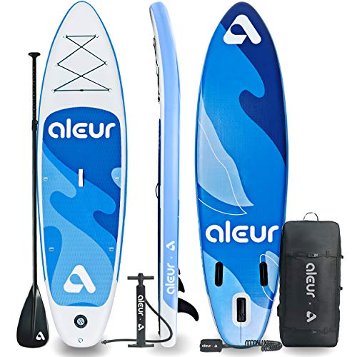 aleur 2020 Explorer Inflatable Stand Up Paddle Board Package W Premium SUP Accessories & Backpack, Non-Slip Deck, Leash, Paddle and Hand Pump | Elegant, Fun, Portable,Versatile (Ocean Blue)