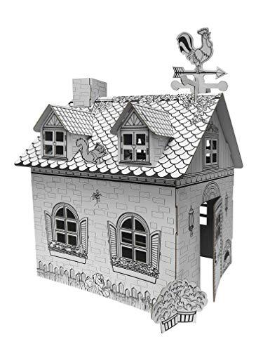 Ricco Kids 3D Cartón Casa de Juegos para Colorear y Manualidades