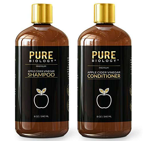 Price comparison product image Pure Biology Premium Apple Cider Vinegar Shampoo & Conditioner Set Cleanse,  Increase Shine & Hydration,  Biotin for Hair Growth & Reduce Hair Loss,  Dry Scalp & Dandruff for Men & Women,  Sulfate Free